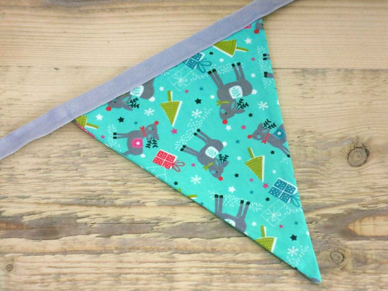 Green Christmas bunting featuring sweet little red-nosed reindeer