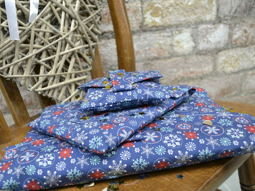 A pile of reusable navy Christmas wrapping paper, that can be torn open by the velcro strap