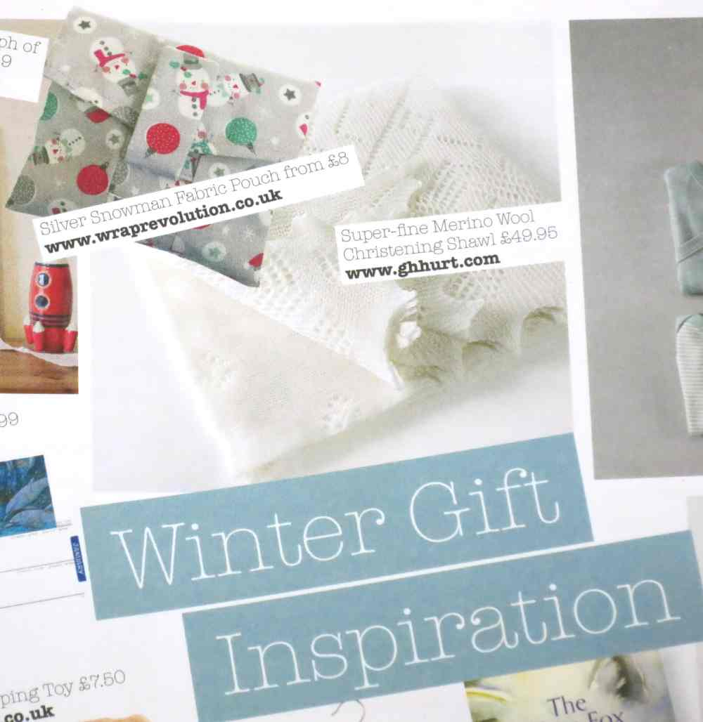 Silver Snowman fabric pouch, as featured in Juno Magazine