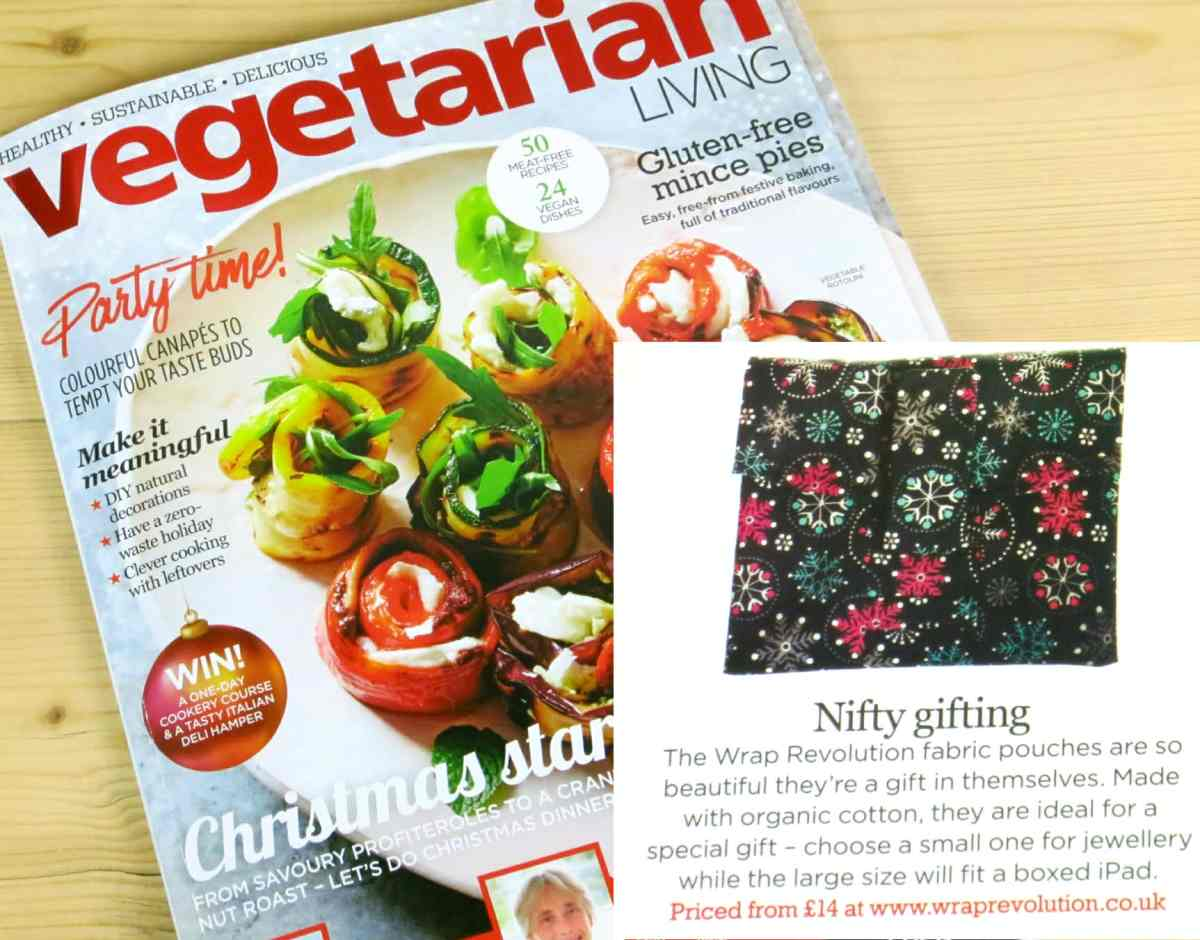 Black Snowflake fabric pouch as featured in Vegetarian Living Magazine, with the title 'Nifty Gifting'