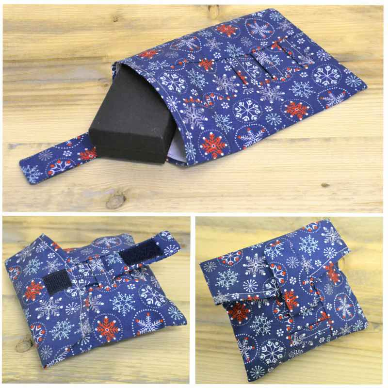 A 3 step image of our British-made reusable wrap being used to wrap a gift