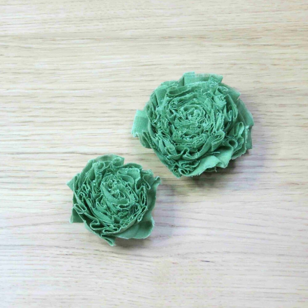 Two green fabric flowers - one Small and one Large
