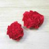 Two red fabric flowers - one Small and one Large