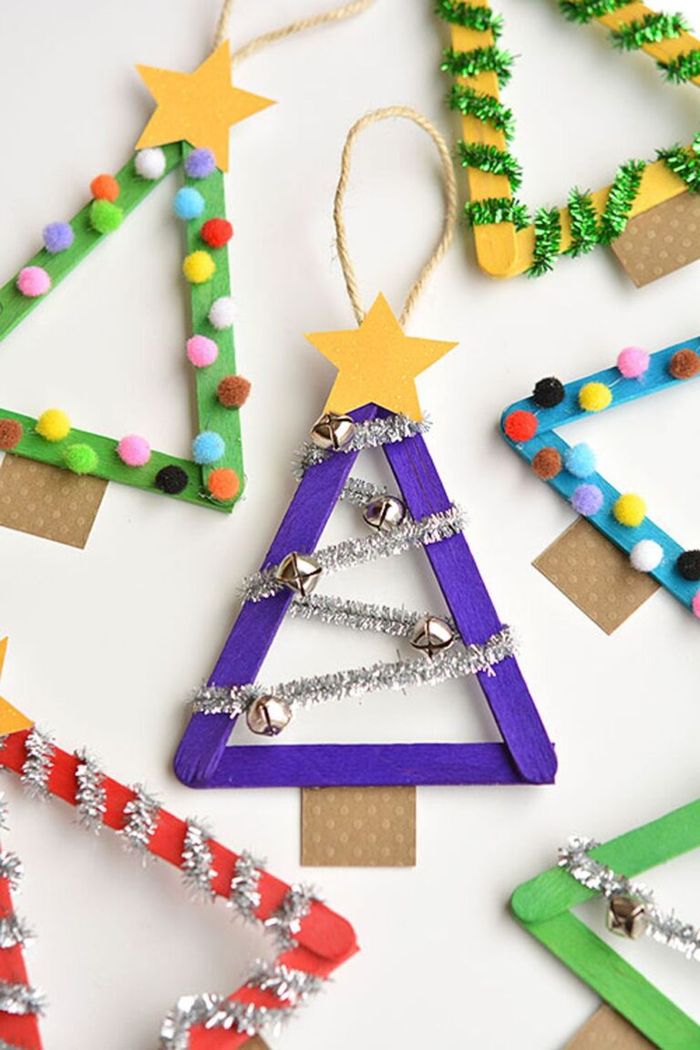 Christmas tree decorations made from lollipop sticks